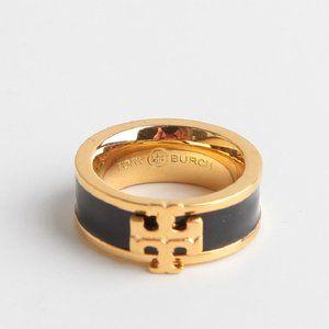 Tory Burch Gold/Black Kira Enamel Logo Ring